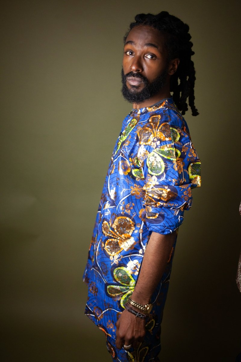 African Print Shirt in Gold Blue Ankara - Continent Clothing