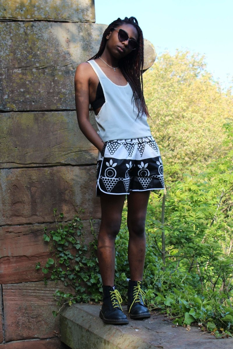African Print Shorts in Black White Ankara Print - Festival Shorts - The Continent Clothing