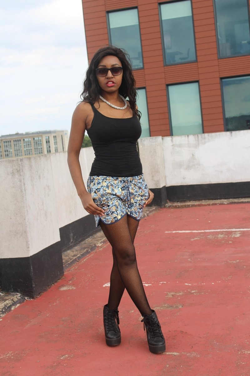 African Print Shorts in Blue Gold Ankara Print - Festival Shorts - Continent Clothing