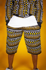 African Print Shorts In Earthy Tones Mud Cloth - Continent Clothing