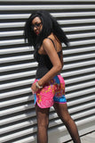 African Print Shorts in Pink Ankara Print - Festival Shorts - Continent Clothing