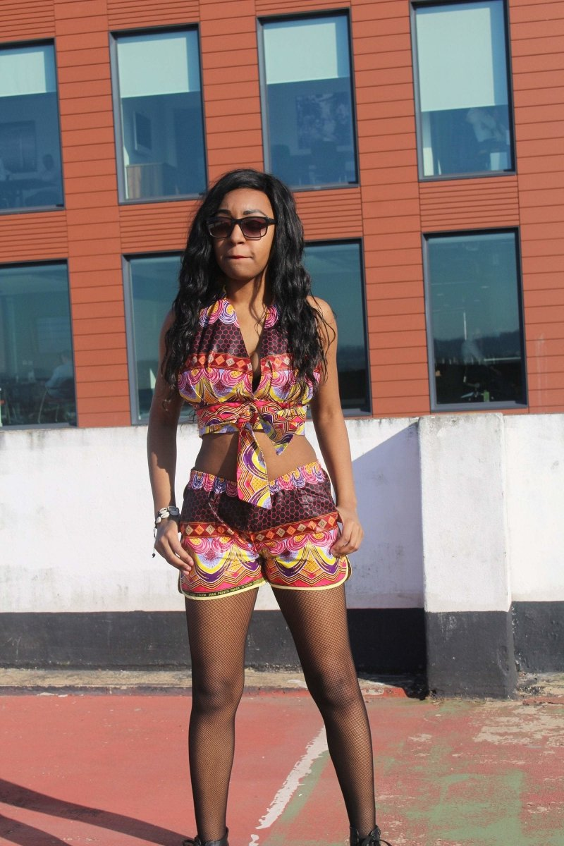 African Print Shorts in Purple Ankara Print - Festival Shorts - The Continent Clothing