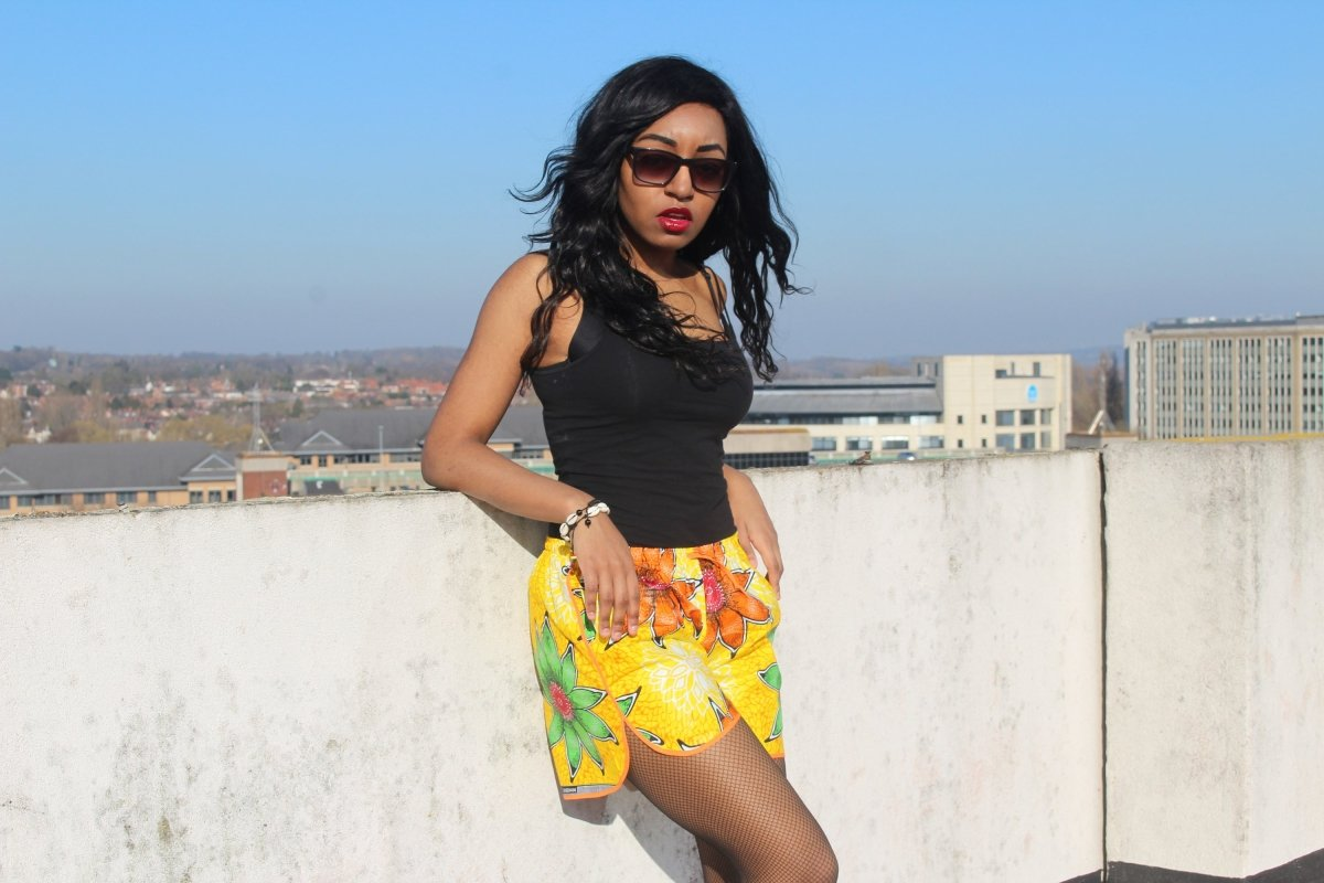 African Print Shorts in Yellow Ankara Print - Festival Shorts - Continent Clothing