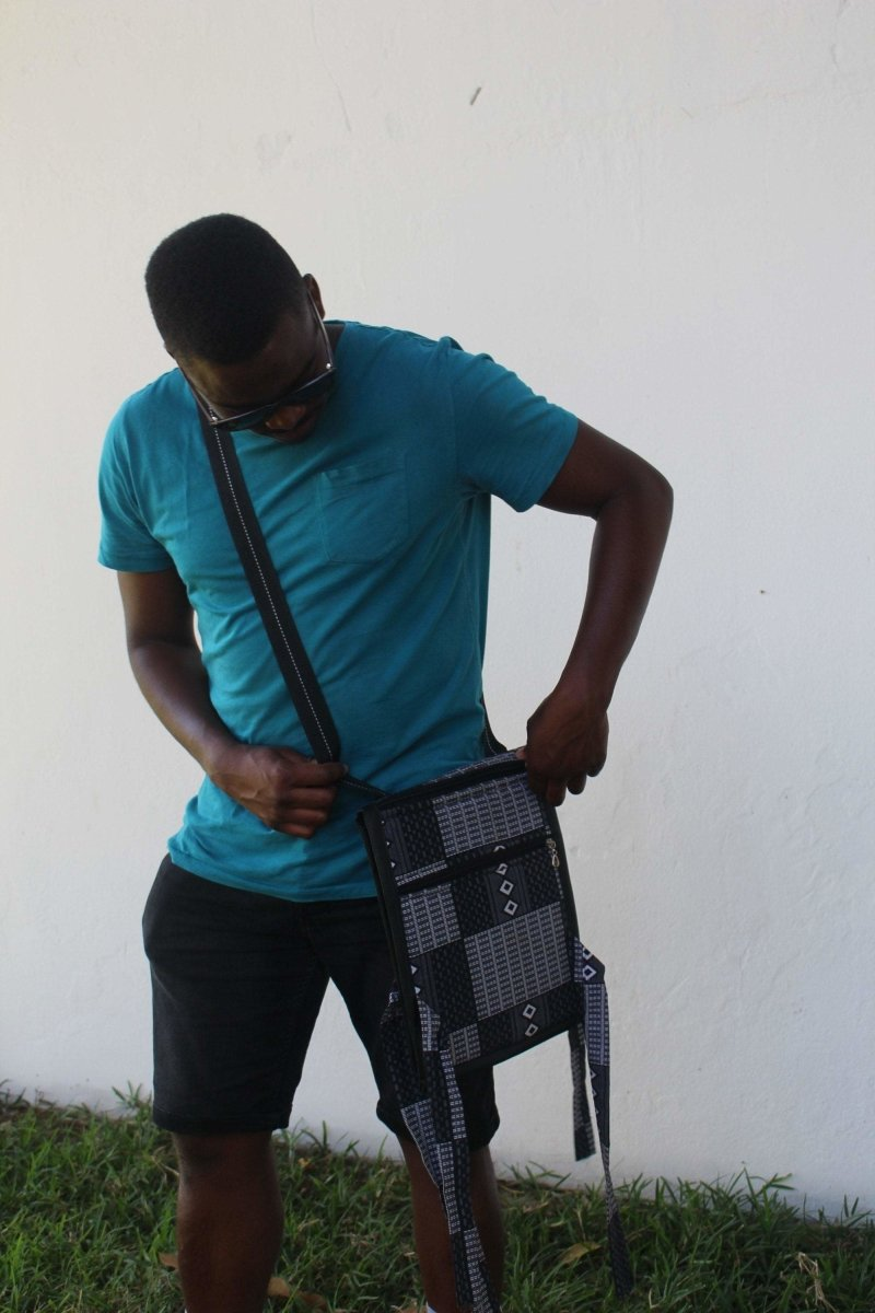 African Print Shoulder Bag in Black White Ankara - Continent Clothing