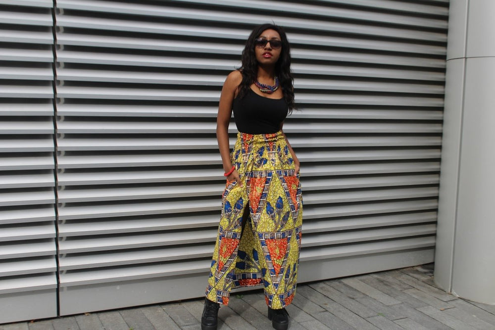 African Print Skirt in Gold Ankara Print - Festival Skirt - The Continent Clothing