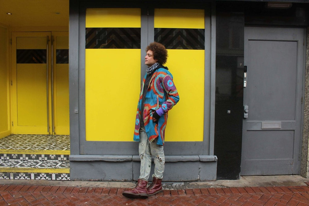 African Print Trench Coat in Blue Ankara Print - Continent Clothing