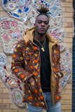 African Puffer Jacket in Brown Ankara Print - Continent Clothing