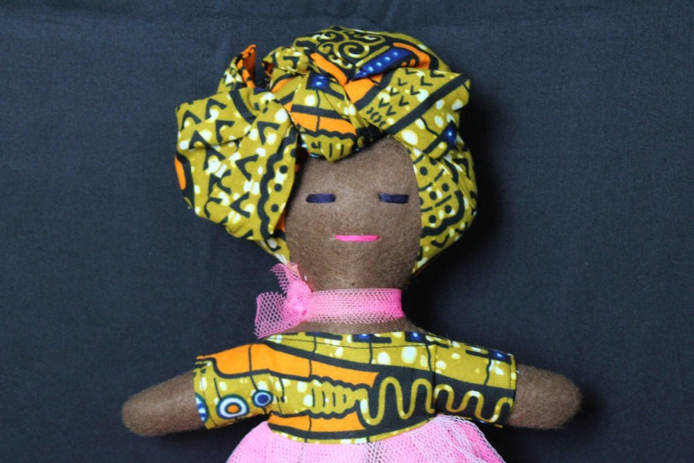 African Rag Doll In Orange Ankara - Continent Clothing