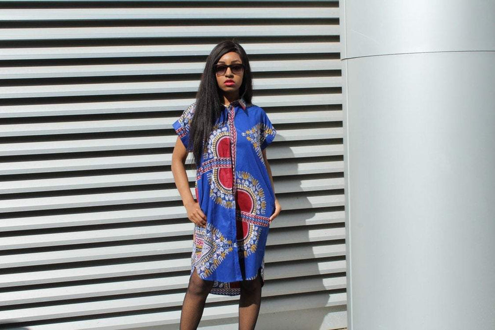 African Shirt Dress in Blue Dashiki Print - Festival Dress - Continent Clothing