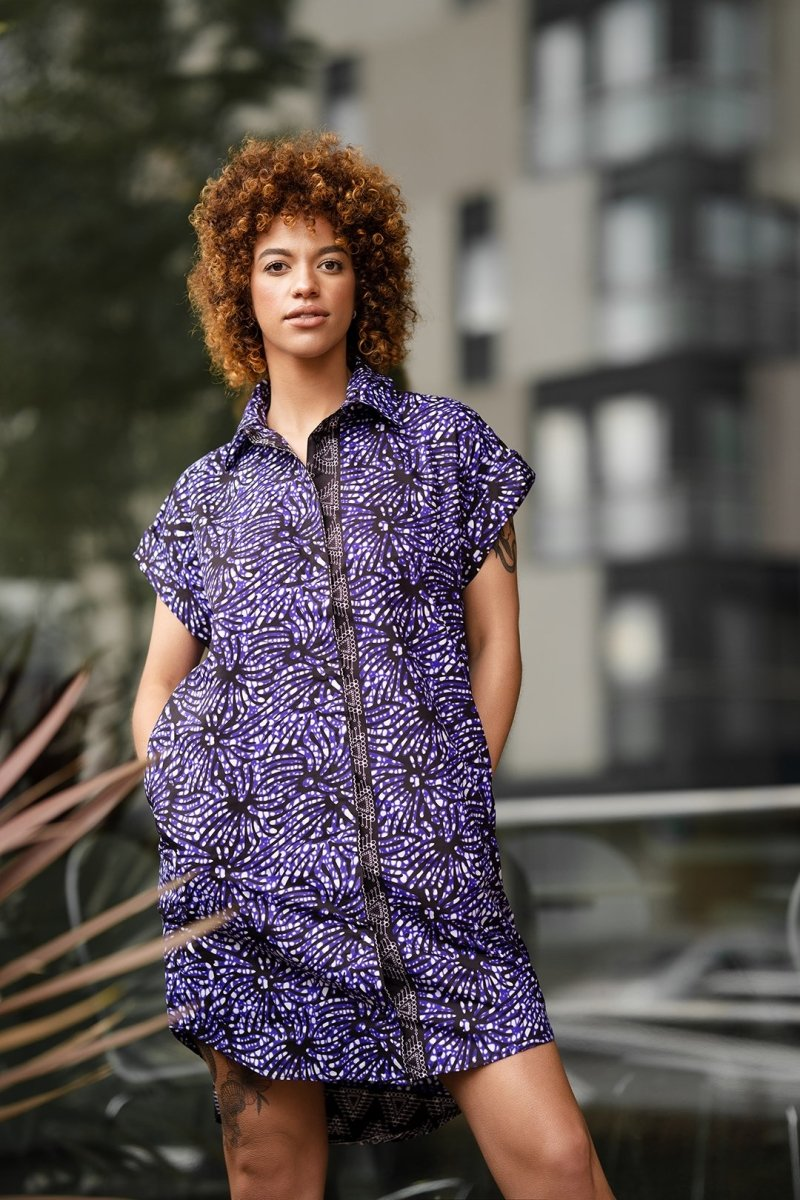 African Shirt Dress In Purple - Continent Clothing