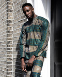 African Shirt in Blue Kente - The Continent Clothing