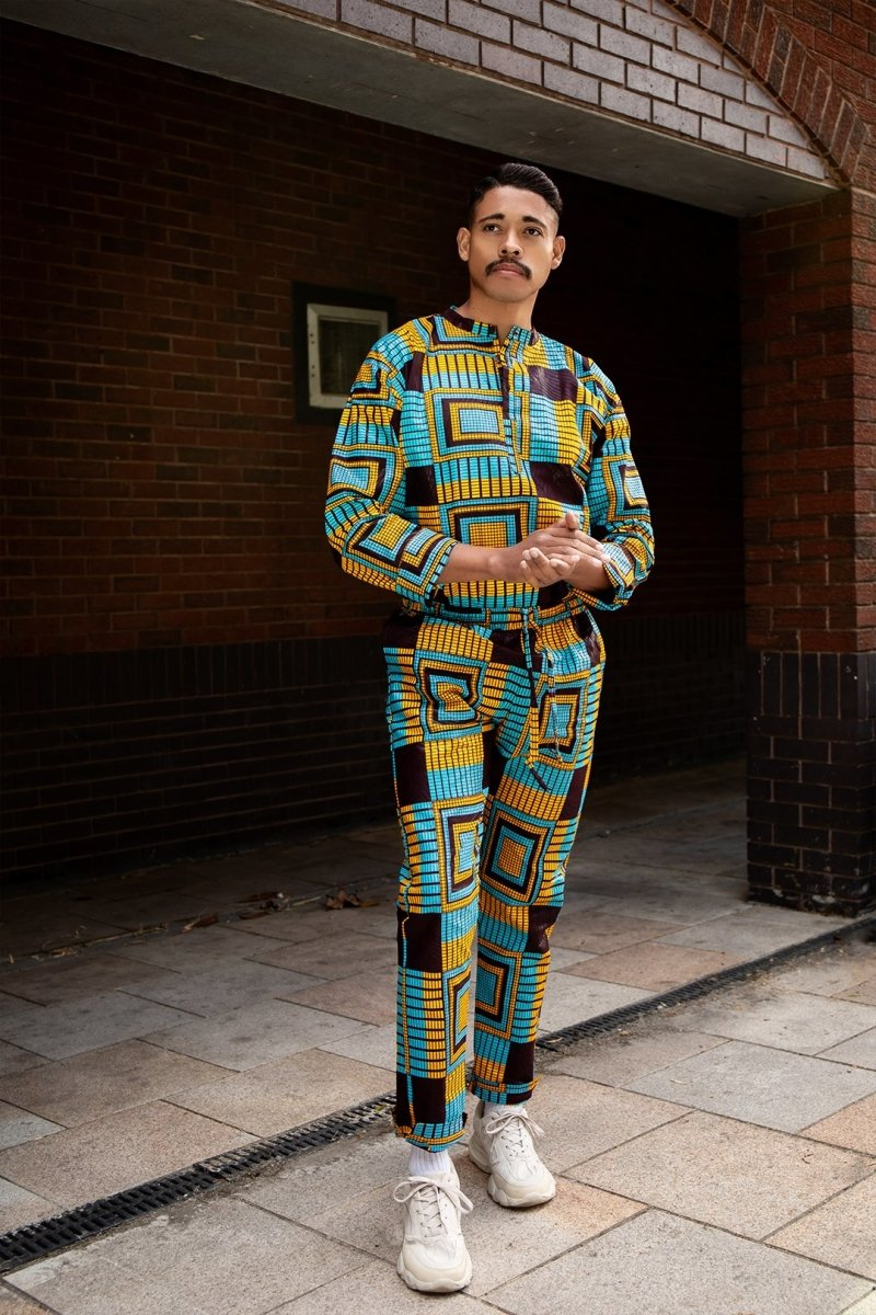 African Shirt in Blue Kente - Continent Clothing