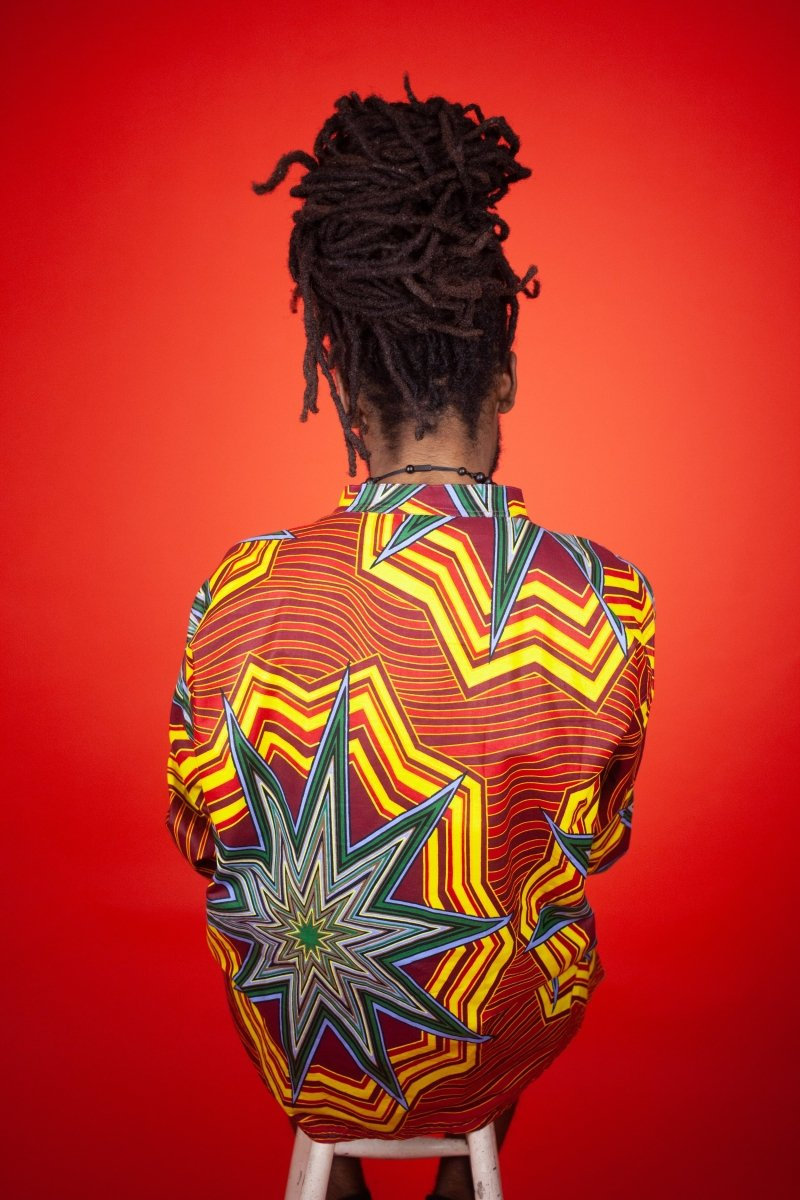 African Shirt in Electric Red & Yellow - Continent Clothing