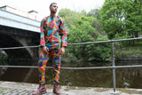 African Shirt in Purple Blue Ankara Print - Festival Clothing - Continent Clothing