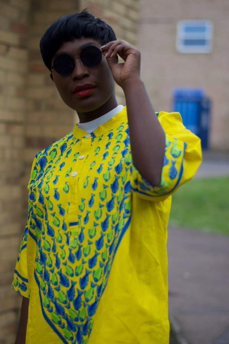 African Shirt in Yellow Ankara Print - Festival Shirt - Continent Clothing