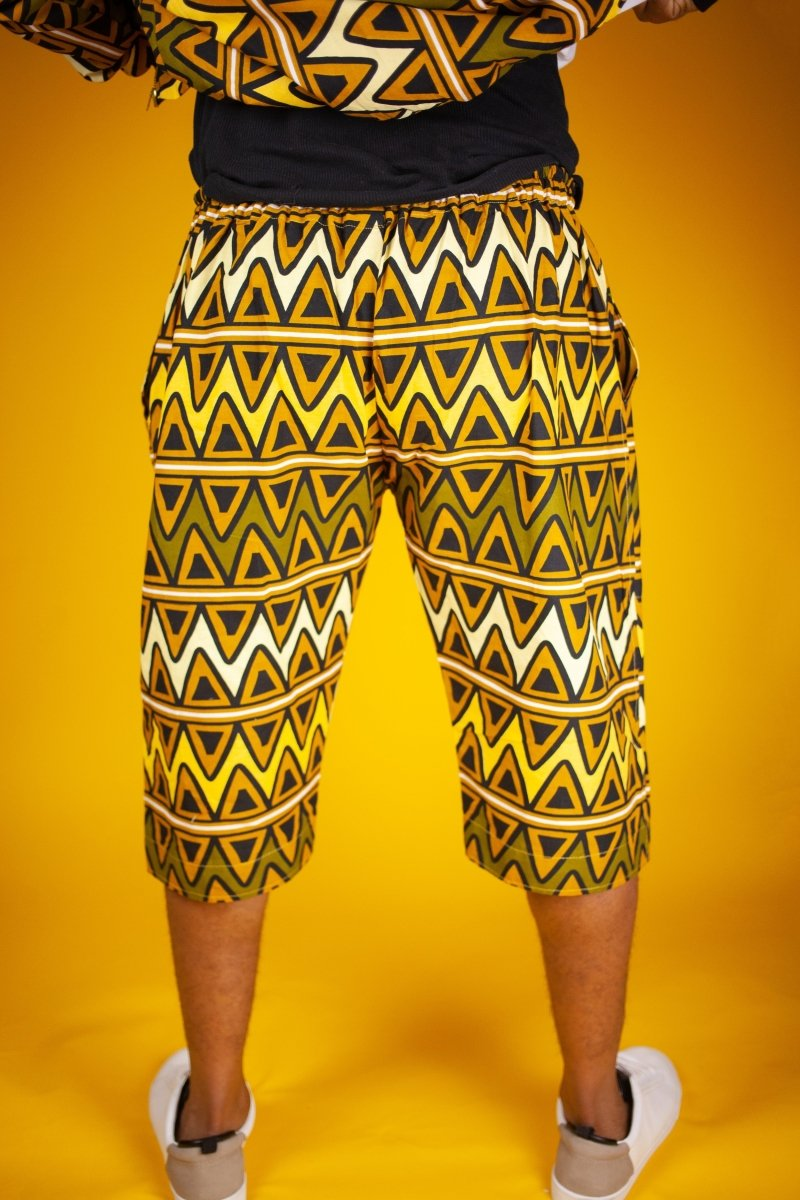 African Shorts In Earthy Tones Mud Cloth - The Continent Clothing