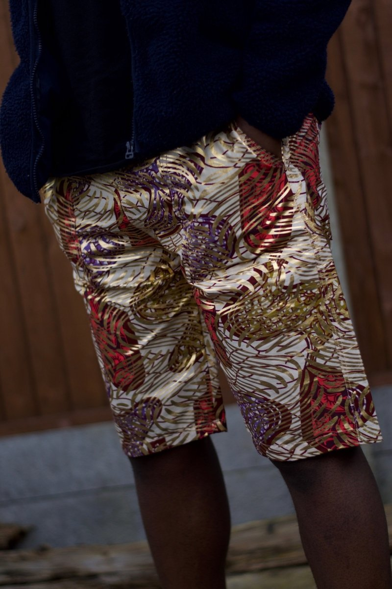 African Shorts in Gold Ankara - Festival Shorts - Continent Clothing