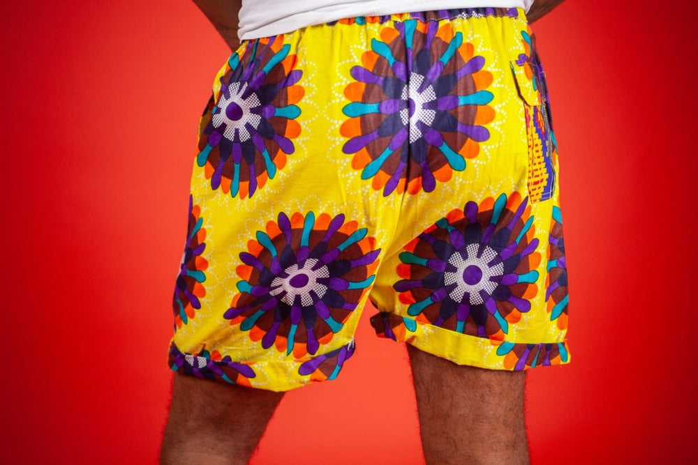 African Shorts In Yellow Ankara - Continent Clothing