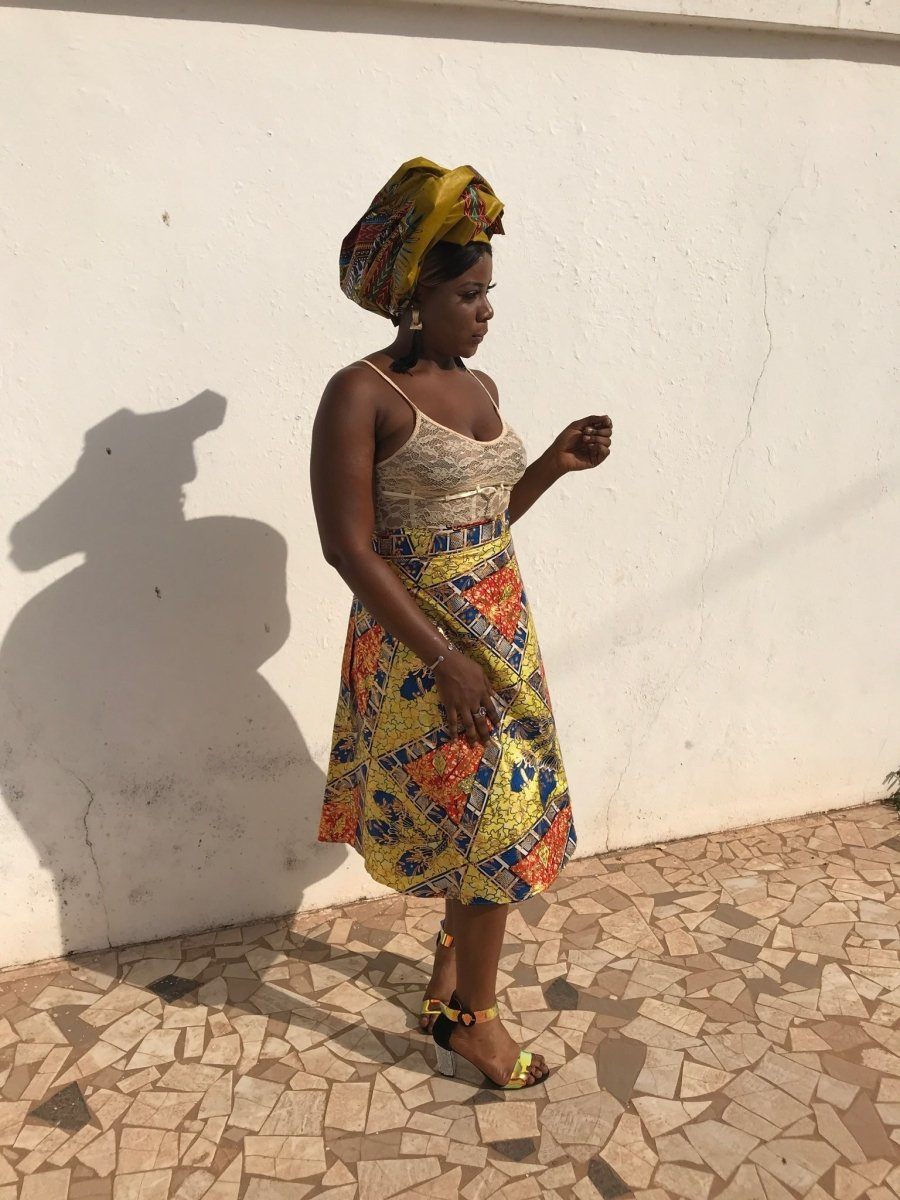 African Skirt, Wrap Skirt in Gold Ankara Print - Beach Skirt - Continent Clothing