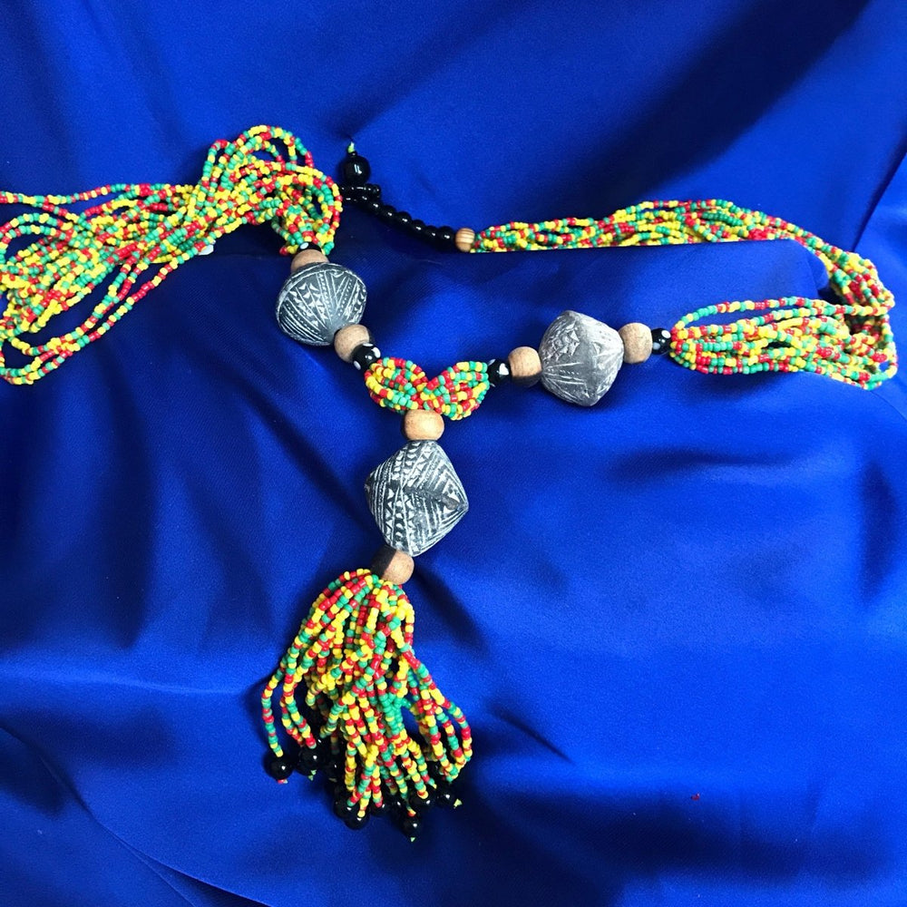 African Statement Necklace with Masai Beadwork - Continent Clothing