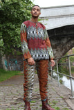 African Suit in Orange Red Print - Aztec Festival Outfit - Continent Clothing
