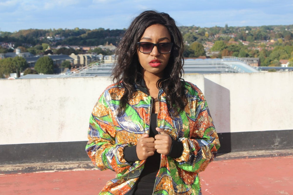 African Trench Coat in Gold Green Ankara Print - Continent Clothing
