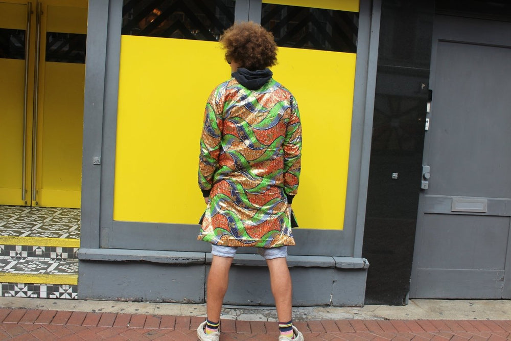 African Trench Coat in Gold Print, The perfect Festival Coat - Continent Clothing
