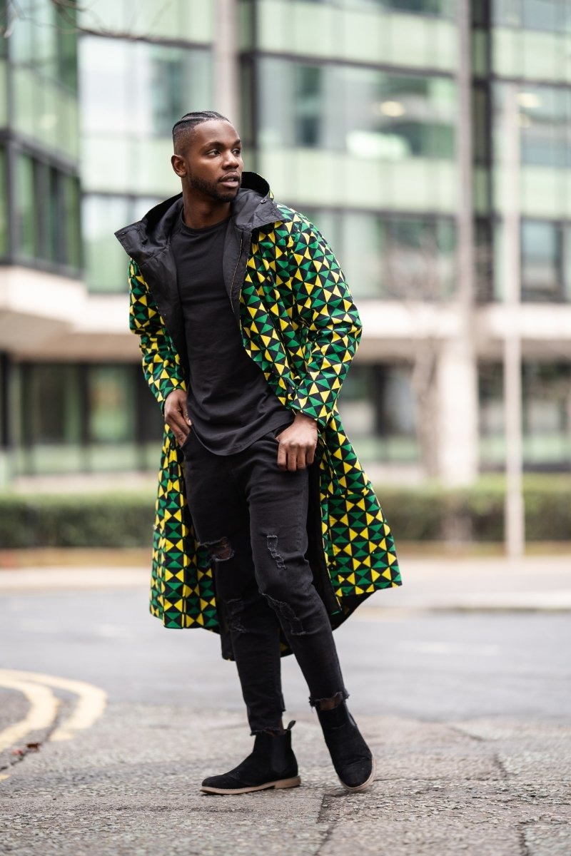 African Trench Coat in Green Ankara Print - Continent Clothing
