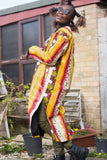 African Trench Coat in Orange Ankara Print - Festival Clothing - Continent Clothing