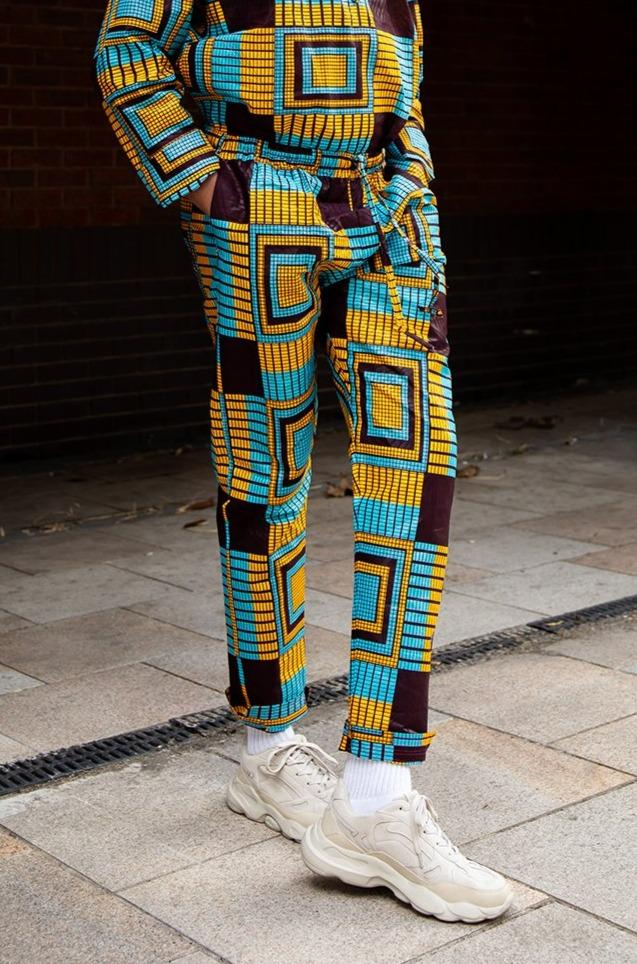 African Trousers In Blue Kente Print - Continent Clothing