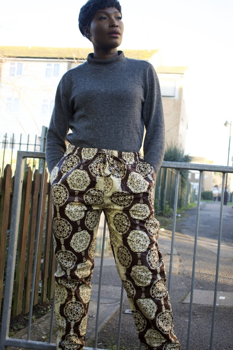 African Trousers in Gold Ankara Print - Festival Trousers - Continent Clothing