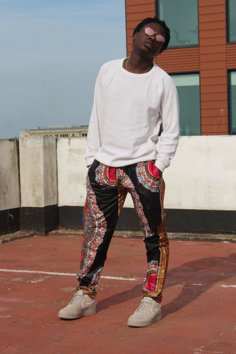 African Trousers/Pants in Black Dashiki - Continent Clothing