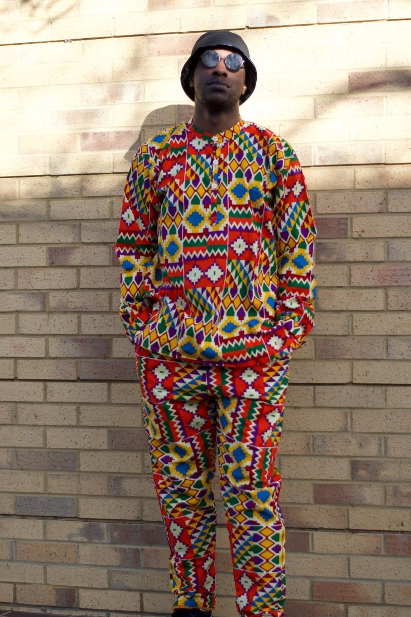 African Trousers/Pants in Orange Kente - Festival Trousers - Continent Clothing