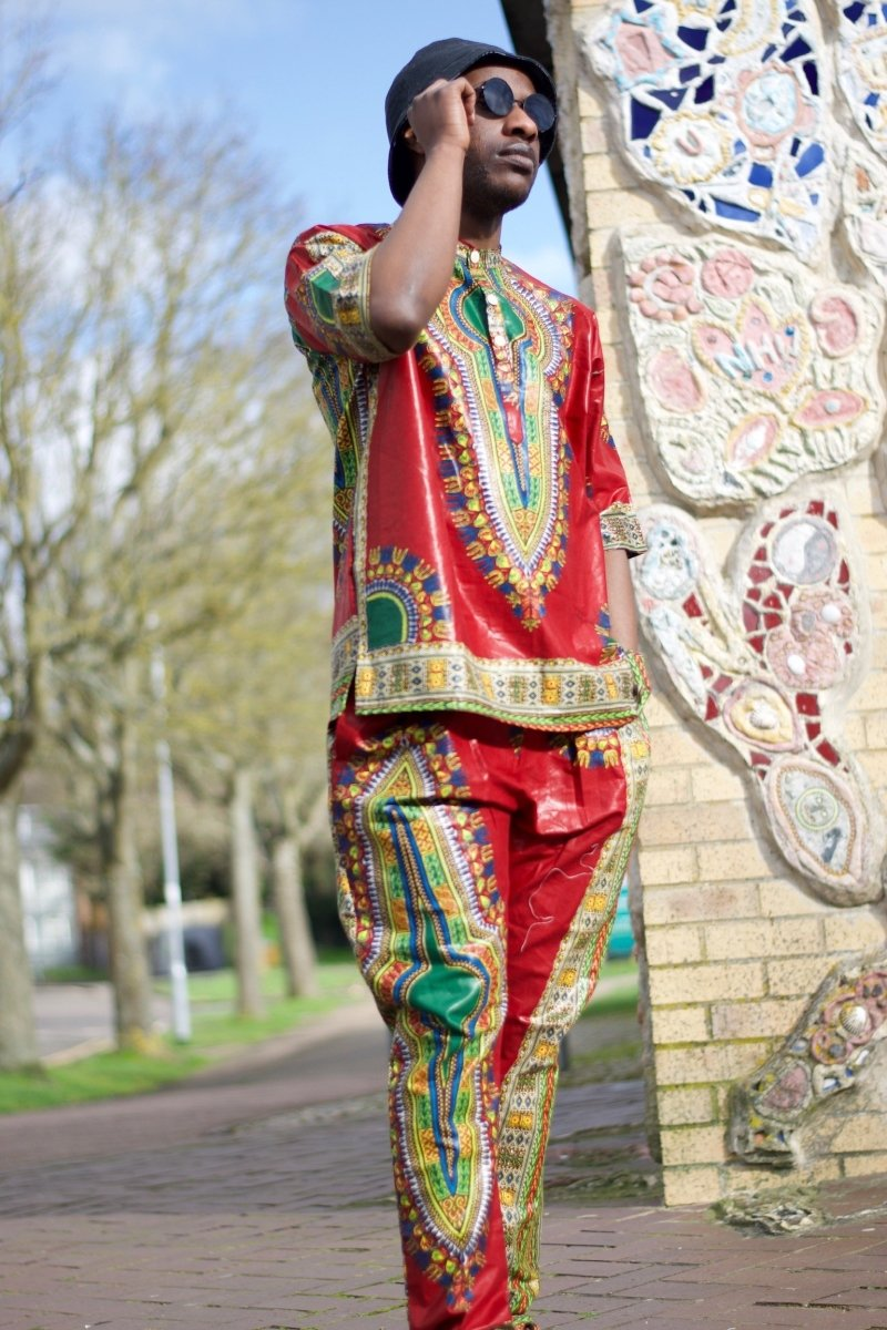 African Trousers/Pants in Red Dashiki - Festival Trousers - The Continent Clothing