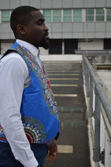 African Waistcoat in Blue Dashiki - Reversible - Continent Clothing