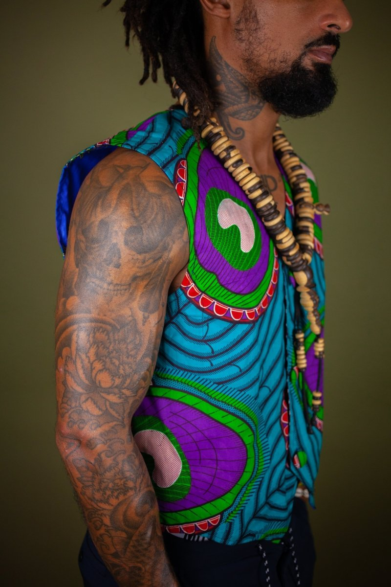 African Waistcoat in Blue Green Ankara - Reversible - Continent Clothing