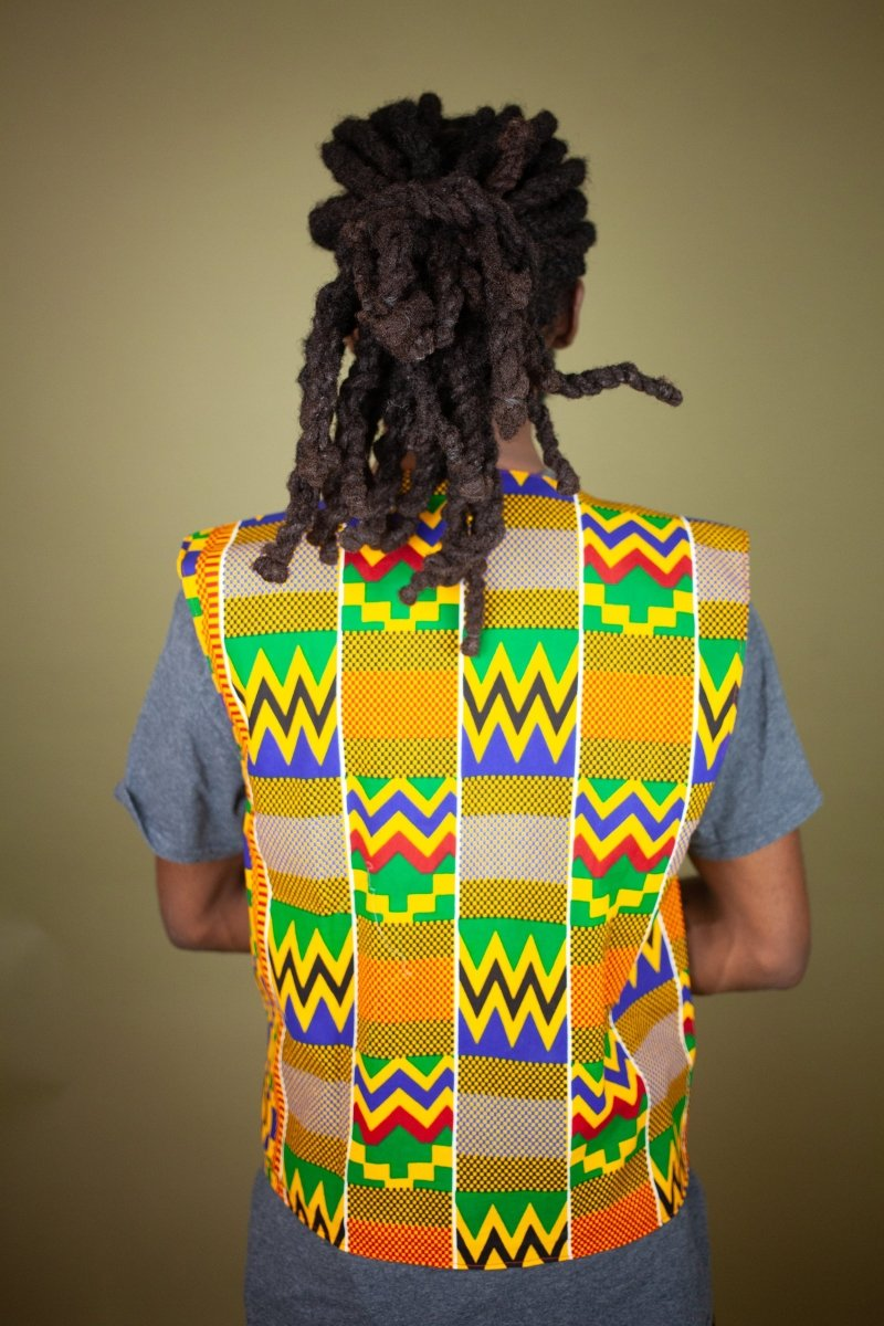 African Waistcoat in Orange Kente - Continent Clothing