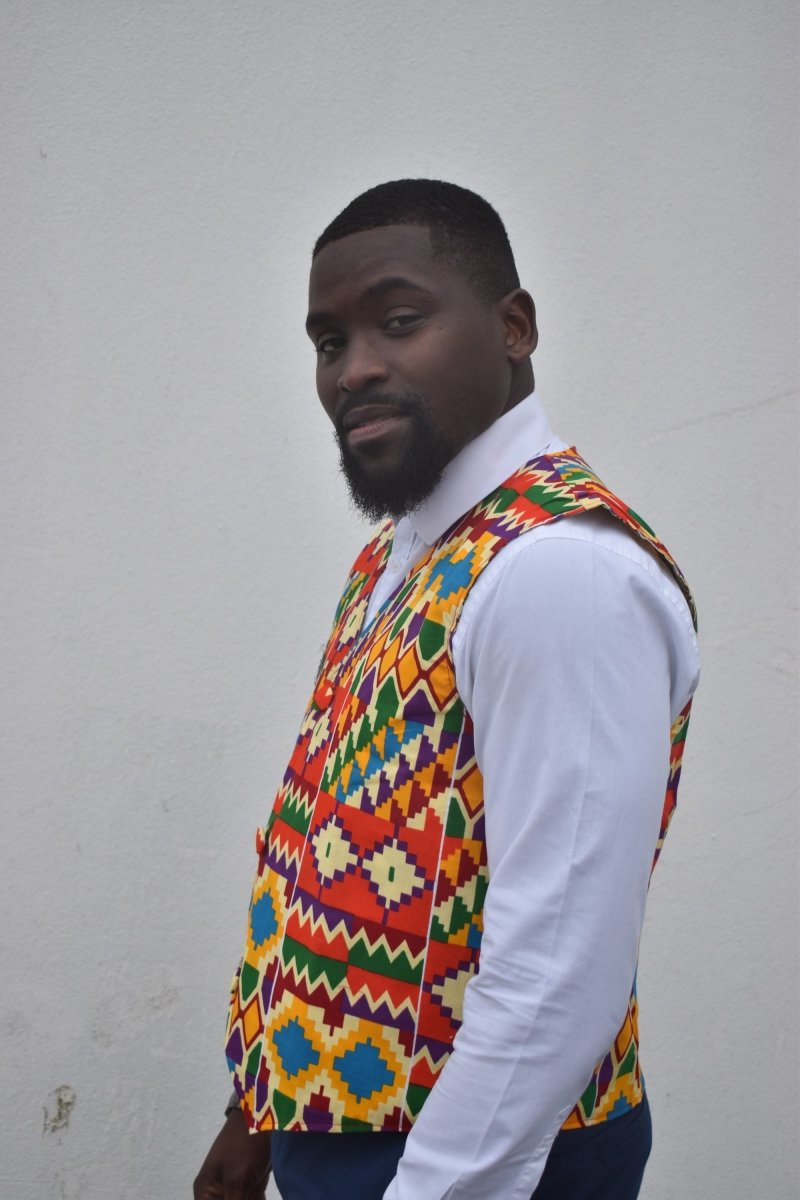 African Waistcoat in Orange Yellow Kente - Reversible - Continent Clothing