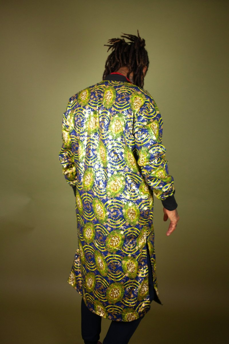 African Winter Coat In Metallic Blue Gold - Continent Clothing