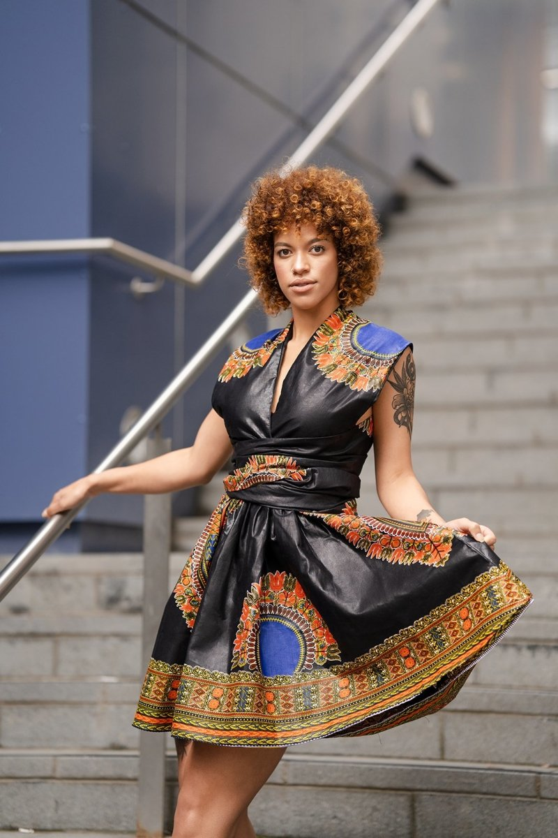 African Wrap Dress In Black Dashiki - The Continent Clothing