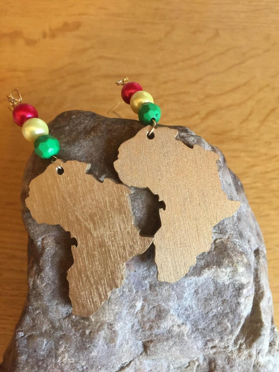 Afrocentric African Map Earrings made with recycled wood - The Continent Clothing