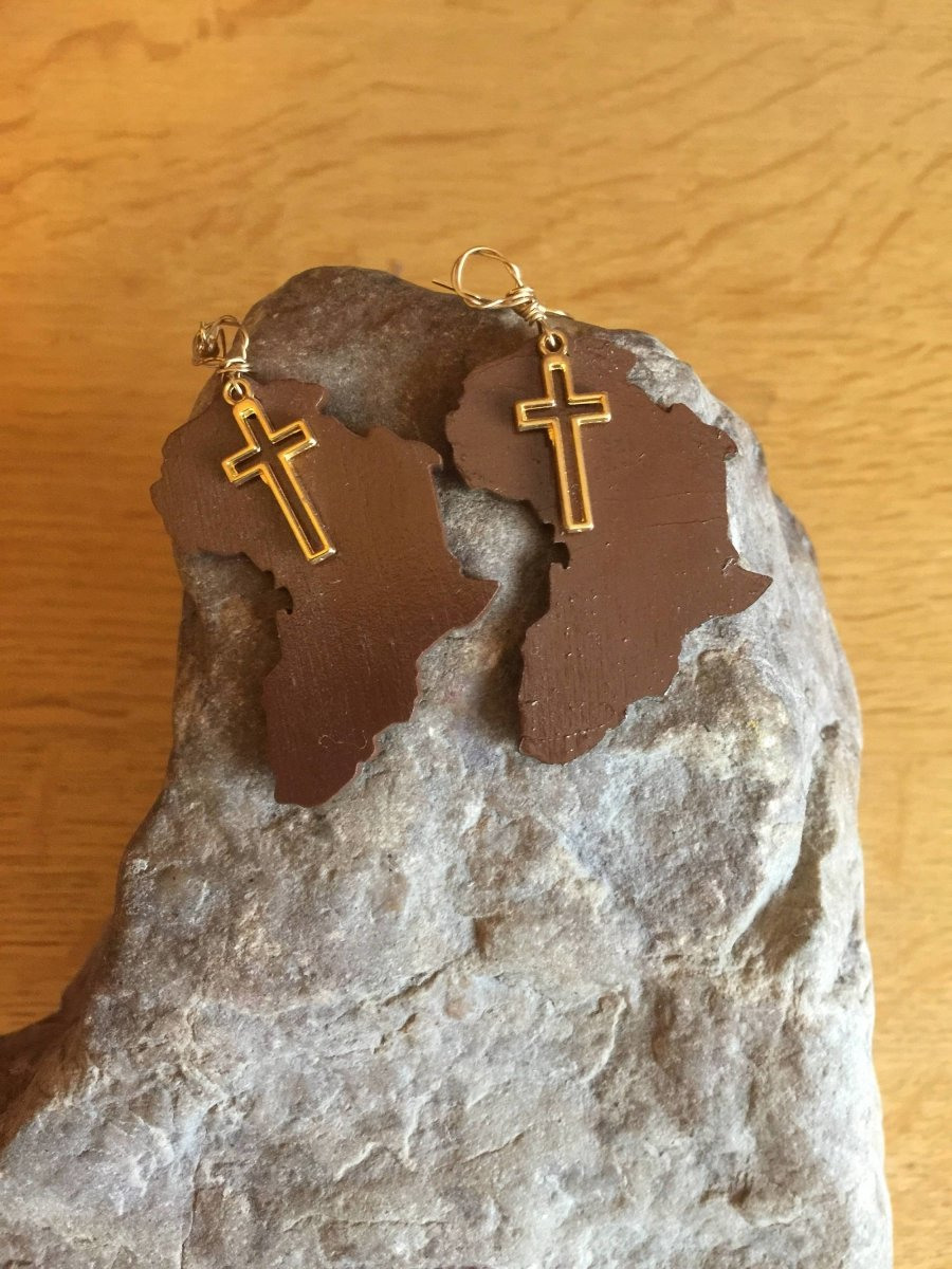 Afrocentric Earrings made with Recycled Wood - Continent Clothing