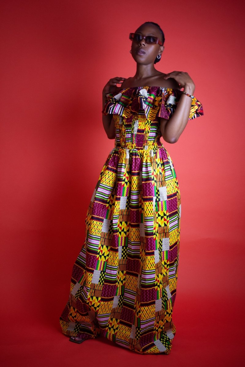 Amazing Kente African Maxi Dress - The Continent Clothing