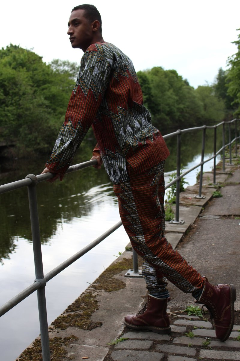 Ankara Trousers in Red and Orange African Print - Continent Clothing