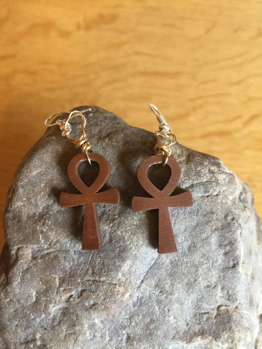 Ankh Earrings made with Recycled Wood - Continent Clothing