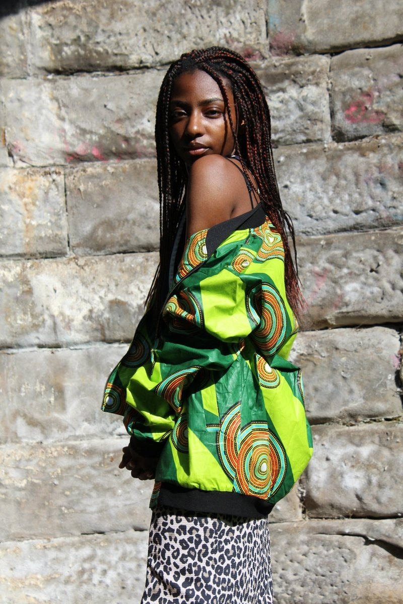 Aztec Jacket in Green African Print- Festival Clothing - Continent Clothing