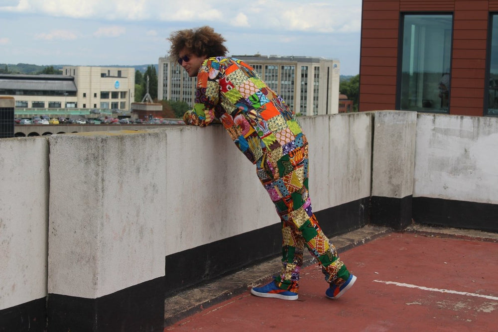 Aztec Patchwork Trouser made using offcuts- Zero waste Ethically made Clothing - Continent Clothing