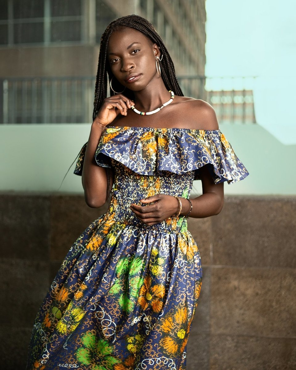 Beautiful African Maxi Dress In Metallic Gold Blue - Continent Clothing