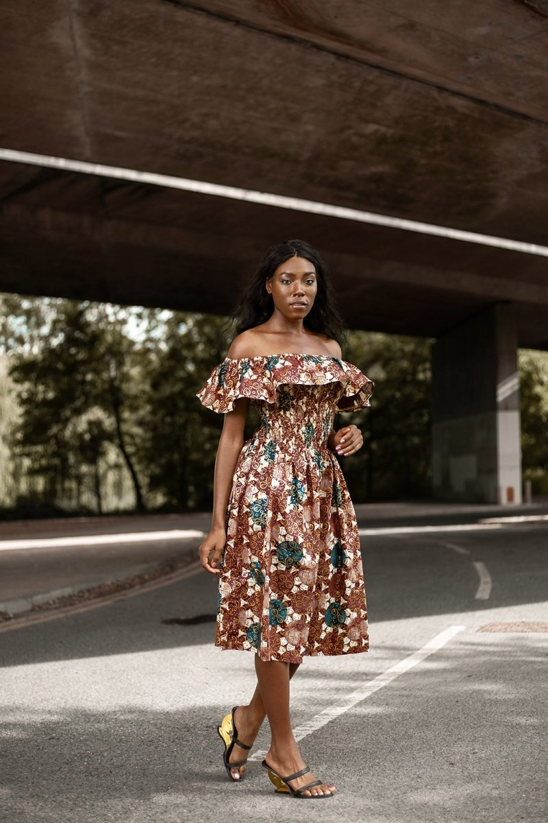 Beautiful African Midi Dress In Metallic Gold Brown - Continent Clothing