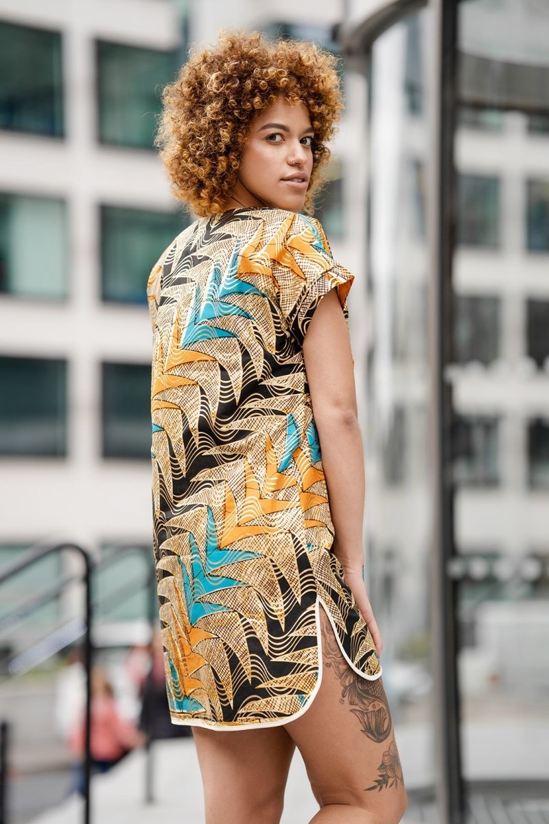 Beautiful African Print Dress In Metallic Gold - Continent Clothing